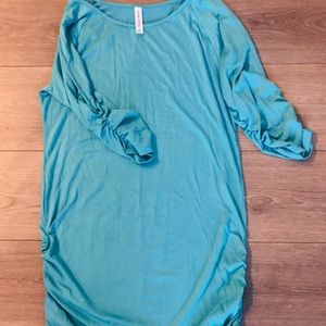 Light Turquoise Ruched Sleeve and sides tunic